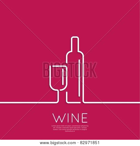 Bottle of wine with a glass wine