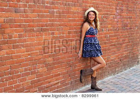 Happy Girl In A Brick Alley