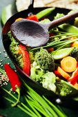 Chinese cuisine. Wok cooking vegetables. Vegetarian wok poster