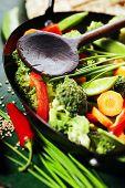 Chinese cuisine. Wok cooking vegetables. Vegetarian wok poster