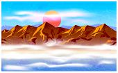 Stylized vector illustration on the theme of mountain ranges mountains traveling and wandering. mountain peaks in the haze and clouds. seamless horizontally if needed poster