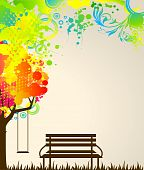 Abstract colorful tree with bench. Nature decoration. poster