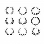 Set of black and white silhouette circular laurel foliate and wheat wreaths depicting an award achievement heraldry nobility and the classics vector poster