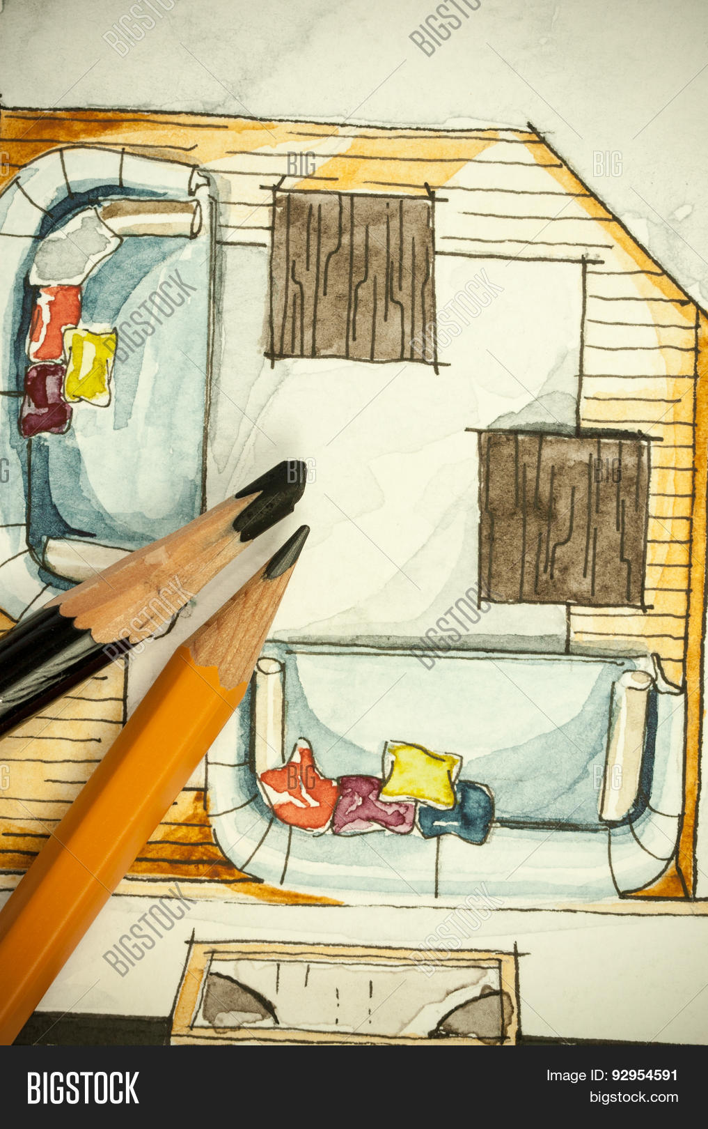 Watercolor Freehand Sketch Painting Of Floor Plan Living Room Sofas With A Couple Pencils
