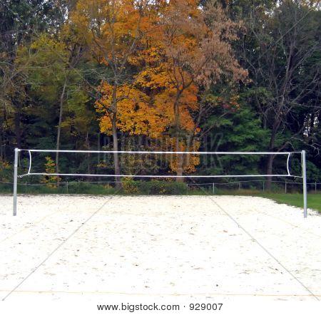 Beach Volleyball In Autumn