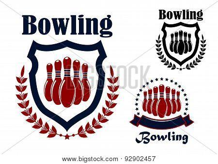 Bowling sports game graphic emblem