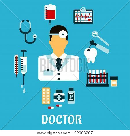 Doctor therapist with medical icons, flat style