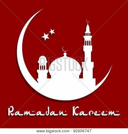 Ramadan Kareem Concept with mosque on a moon