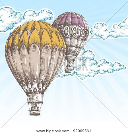 Hot air balloons in the blue sky retro background
