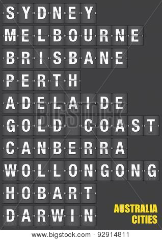 Names of Australian cities on old fashion split-flap display like travel destinations in airport flight information display system and railway stations timetable. Vector illustration. poster