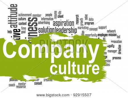 Company Culture Word Cloud With Green Banner