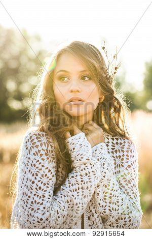 Beautiful Young Lady Model In Field At Sunrise