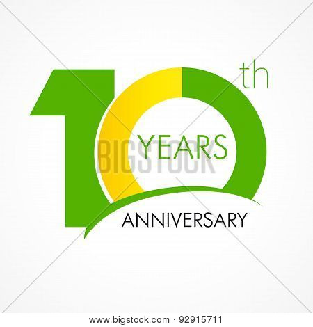 10 years old celebrating classic logo. Anniversary year of 100 th vector template. Birthday greetings celebrates. Traditional digits of jubilee ages . Colored letter O.
