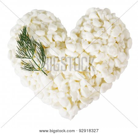 Cottage cheese in the form of heart