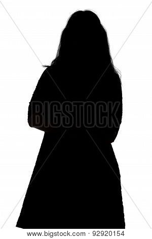 Silhouette of pudgy woman