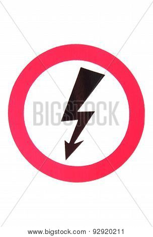High voltage hazard high voltage danger sign electrical symbol black thunder and red circle poster