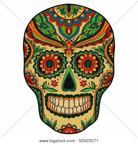 Print mexican traditional scull with floral ornament