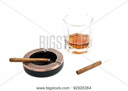 Two Cigarillos, Ashtray And Alcohol