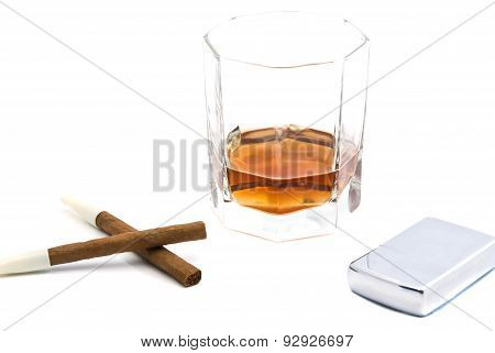 Two Cigarillos, Metal Lighter And Cognac