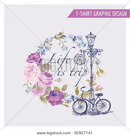 Floral Shabby Chic Graphic Design - for t-shirt, fashion, prints - in vector poster