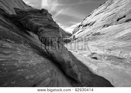 Black And White Slot Canyon Sandstone Abstract