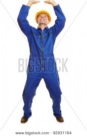 Fully body isolated construction worker lifting a heavy imaginary object