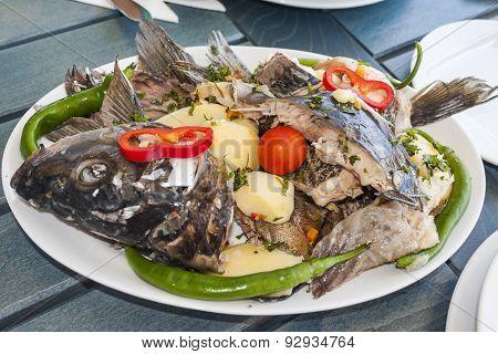 Traditional danube perch menu
