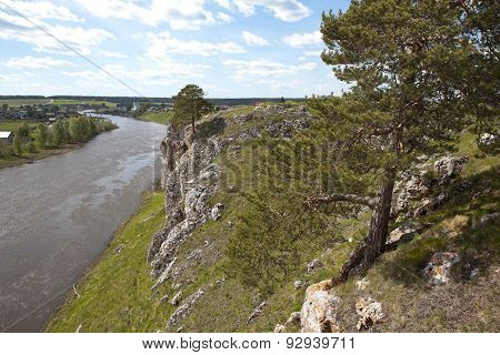 Usva river in the Sverdlovsk region is famous among tourists for its picturesque rocky shores. poster