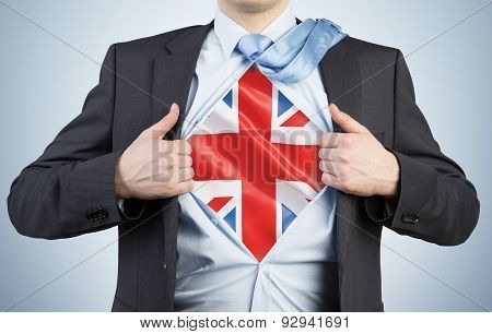 A Man Tearing The Shirt. Great Britain Flag On The Chest.