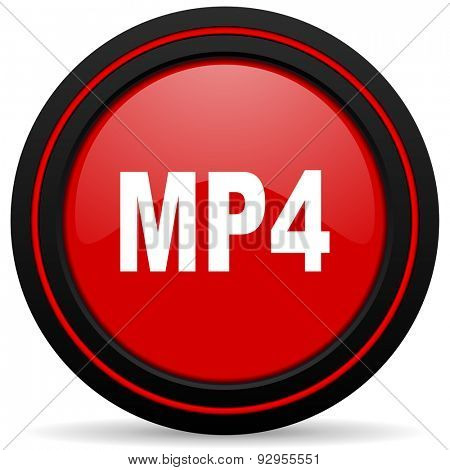 mp4 red glossy web icon