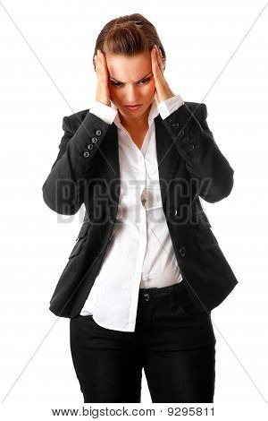 modern business woman with headache holding hands at head