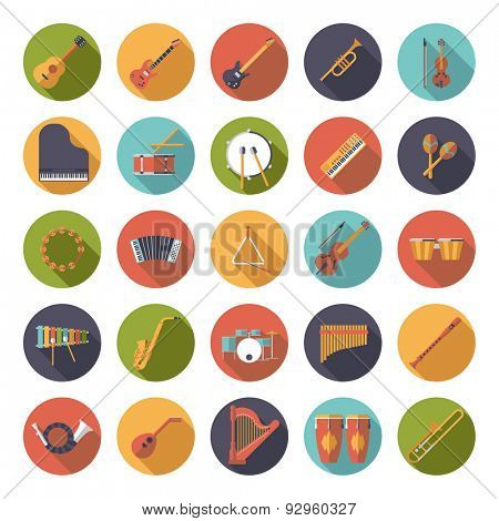 Musical Instruments Circular Flat Design Vector Icons Collection. Set of 25 musical instruments icons in circles, flat design, long shadow.