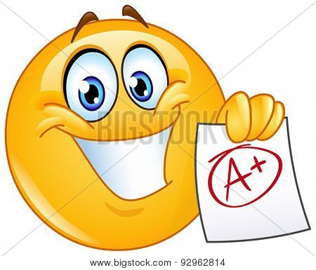 Happy yellow ball showing a paper with perfect grade a plus