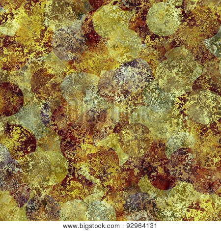 Abstract Rusty Grunge Texture With Circles Looks Like Coins