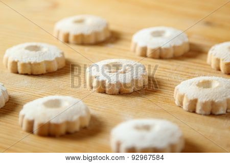 Italian Canestrelli Cookies On A Wooden Table