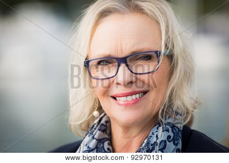 Glasses woman smiling