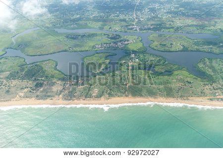 Aerial View Of The Shores Of Cotonou, Benin .