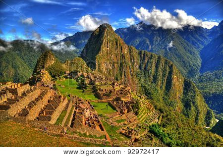 The lost city of the Inca Machu Picchu in HDR