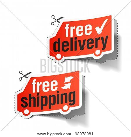 Free delivery and free shipping labels. Vector.