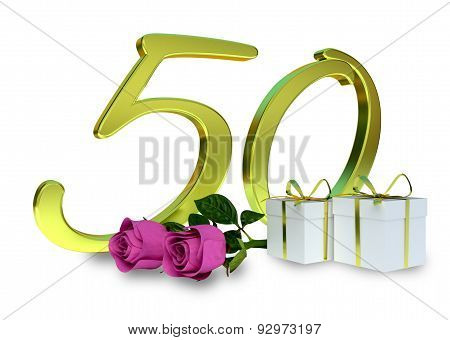 birthday concept with pink roses