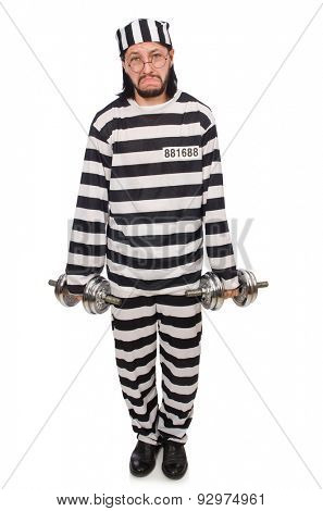 Prison inmate with dumbbells isolated on white