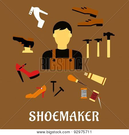 Shoemaker with tools and shoes in flat style