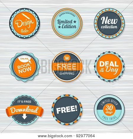 Vintage Labels Template Set. Vector Retro Badges