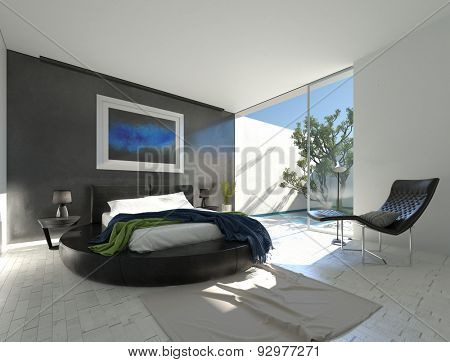 Modern luxury bedroom with black leather and grey and white decor and an enclosed outdoor patio with the glass door open allowing in bright sunshine. 3d Rendering.