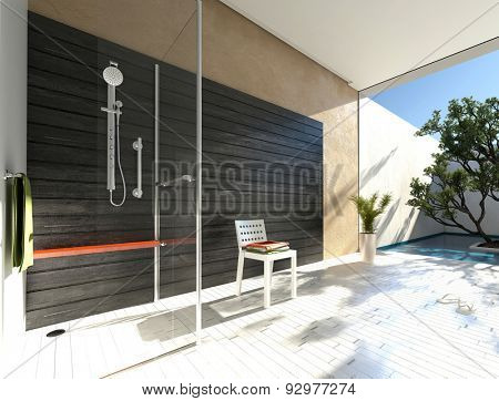 Simple glass shower cubicle in a modern bathroom with grey accent wall and white parquet floor leading to a walled outdoor patio with tree and potted plants. 3d Rendering.