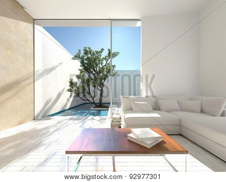 Sunny interior decor of a vacation apartment with a comfortable white modular lounge suite in a simple bright living room with parquet floor and a glass door to a walled patio. 3d Rendering.