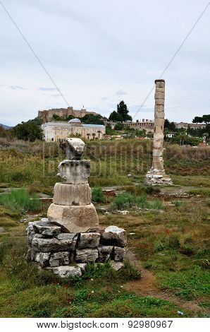 A view of the remains of the Temple of Artemis at Ephesus, Turkey
