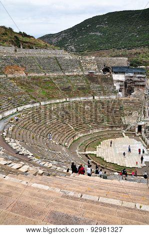 EPHESUS, TURKEY - October 27, 2010: Visitors at the great theater at Ephesus, Turkey