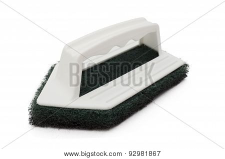 Clean scrubber with green fiber scourer with plastic handle