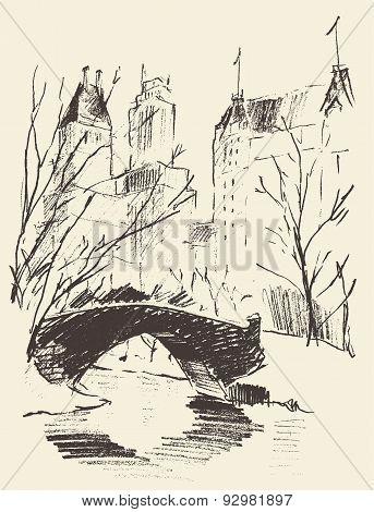 Sketch of a Central Park New York Landscape Bridge